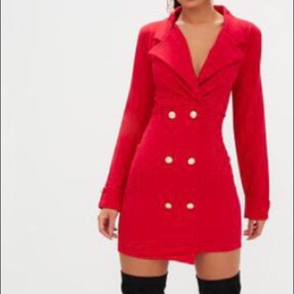384b4d4c394e4 Red Gold Button Detail Blazer Dress